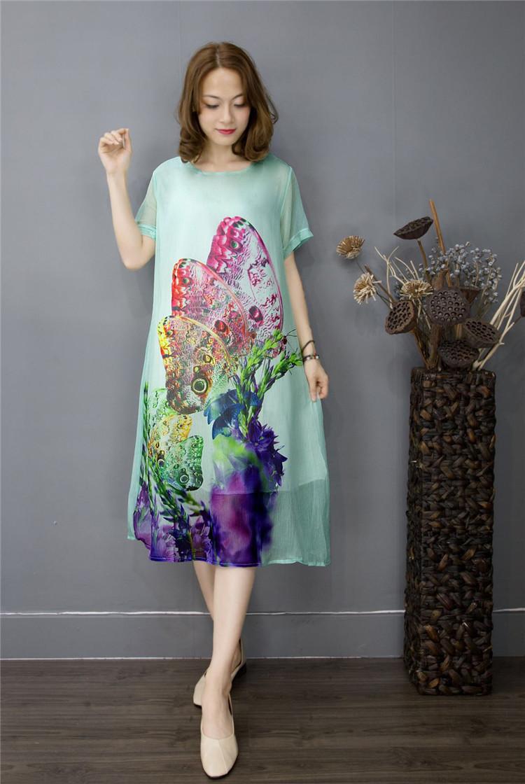 米谷儿大码品牌新款休闲3D水墨连衣裙女装