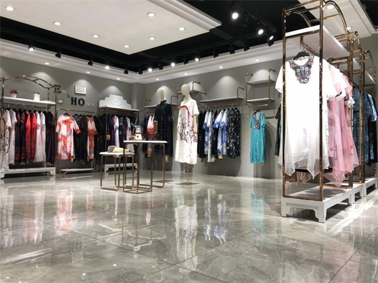独创设计风格青像真丝质感气质衬衫连衣裙
