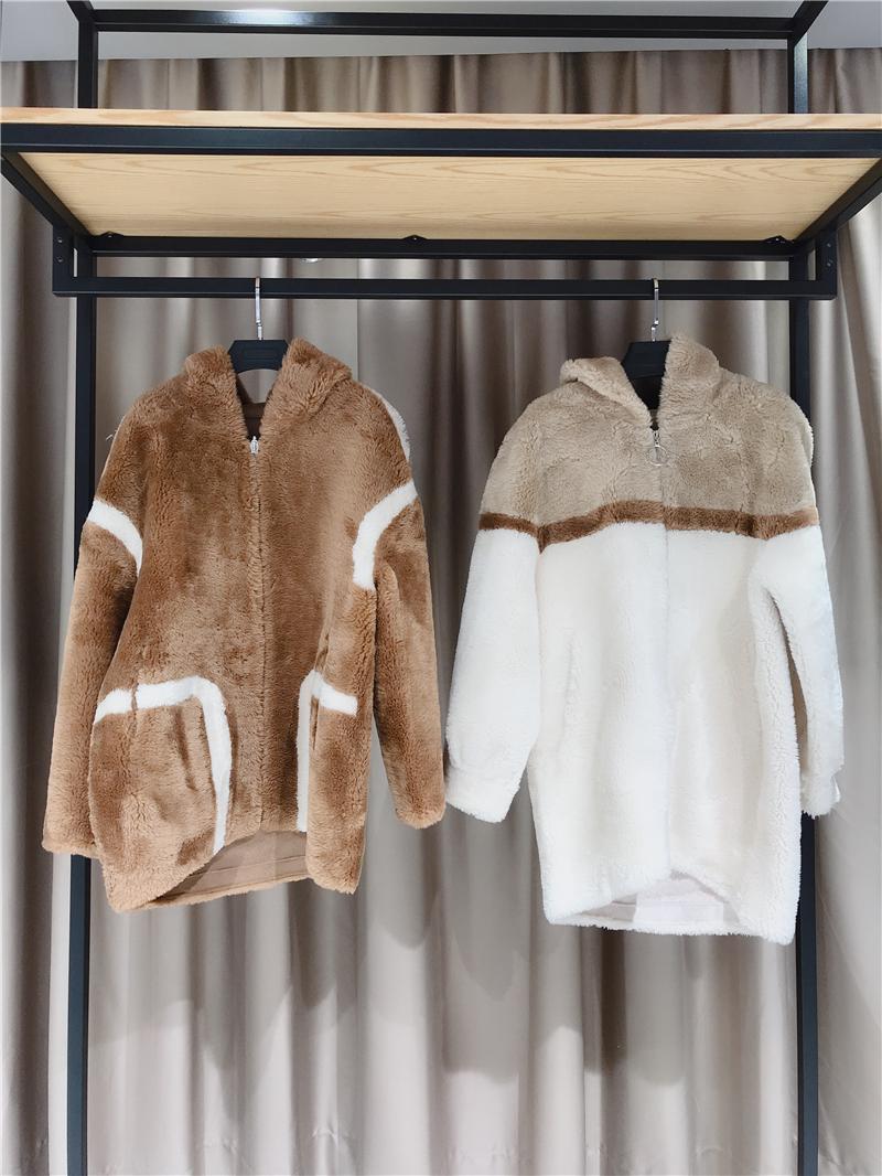 高端颗粒绒大衣品牌折扣女装货源   专柜正品货源渠道抖音直播女装货源